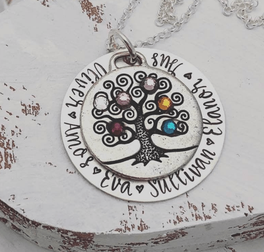 custom name necklaces grandma family tree with birthstones on Etsy