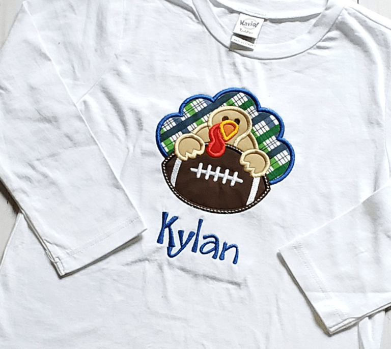 toddler boy thanksgiving shirt personalized with football embroidered