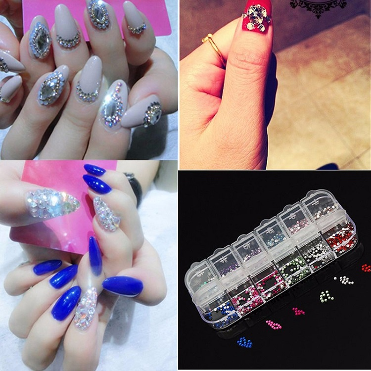 Nail Art Decoration Box 12 Colors Rhinestone Online Shopping Spark