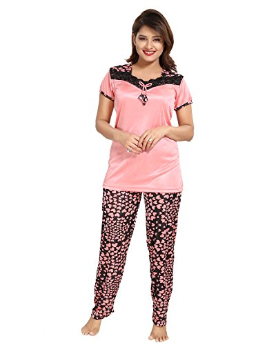 55b3be2ab2 41izAg9fjdL - Tucute Women s   Girls Satin Nighty  Nightwear- Top   Pyjama  Set Beautiful