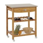 Sandusky-Lee-MKT282034-Wood-Kitchen-Utility-Cart-with-Stainless-Steel-Top-28-Length-x-20-Width-x-34-Height-Natural-Wood-0-0