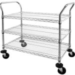 Sandusky-Lee-MWS361838-Adjustable-Wire-Shelf-Cart-with-Pull-Handle-800-lb-Maximum-Capacity-Chrome-0