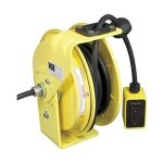 KH-Industries-RTB-Series-ReelTuff-Industrial-Grade-Retractable-Power-Cord-Reel-with-Black-Cable-123-SJOW-Cable-Prewired-with-GFCI-Protected-Two-Receptacle-Outlet-Box-20-Amp-50-Length-Yellow-Powder-Coa-0