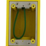 Leviton-FDBX1-Y-FD-Box-Single-Gang-260-Cubic-Inch-Capacity-1-Inch-NPT-Openings-Includes-Plugs-and-Stainless-Steel-Device-Mounting-Plate-Yellow-0