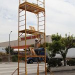 Scaffold-Rolling-Tower-Standing-at-17-High-with-Hatch-Deck-Guard-Rail-and-U-Lock-Brace-CBM1290-0