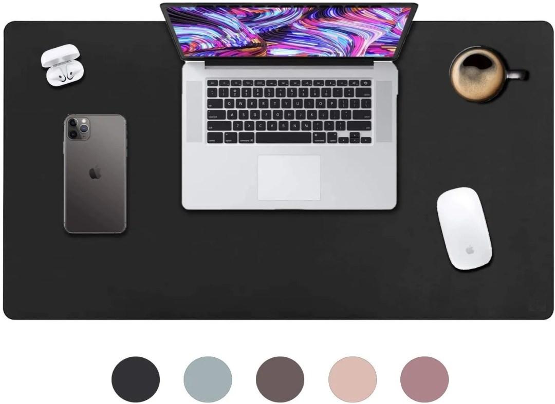 Leather Desk Pad Vine Creations Office Desk Mat Waterproof Black