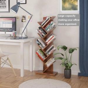 Homfa Tree Bookshelf, Bookcase Rack - best home office decor ideas on a budget