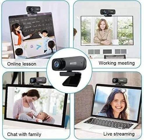 Webcam with Microphone with Automatic Face Beauty Feature 4K HD Streaming USB Computer Webcam