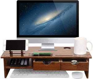 Sundale Bamboo Wood Monitor Stand Ergonomic Computer Riser with Storage Organizer Drawers