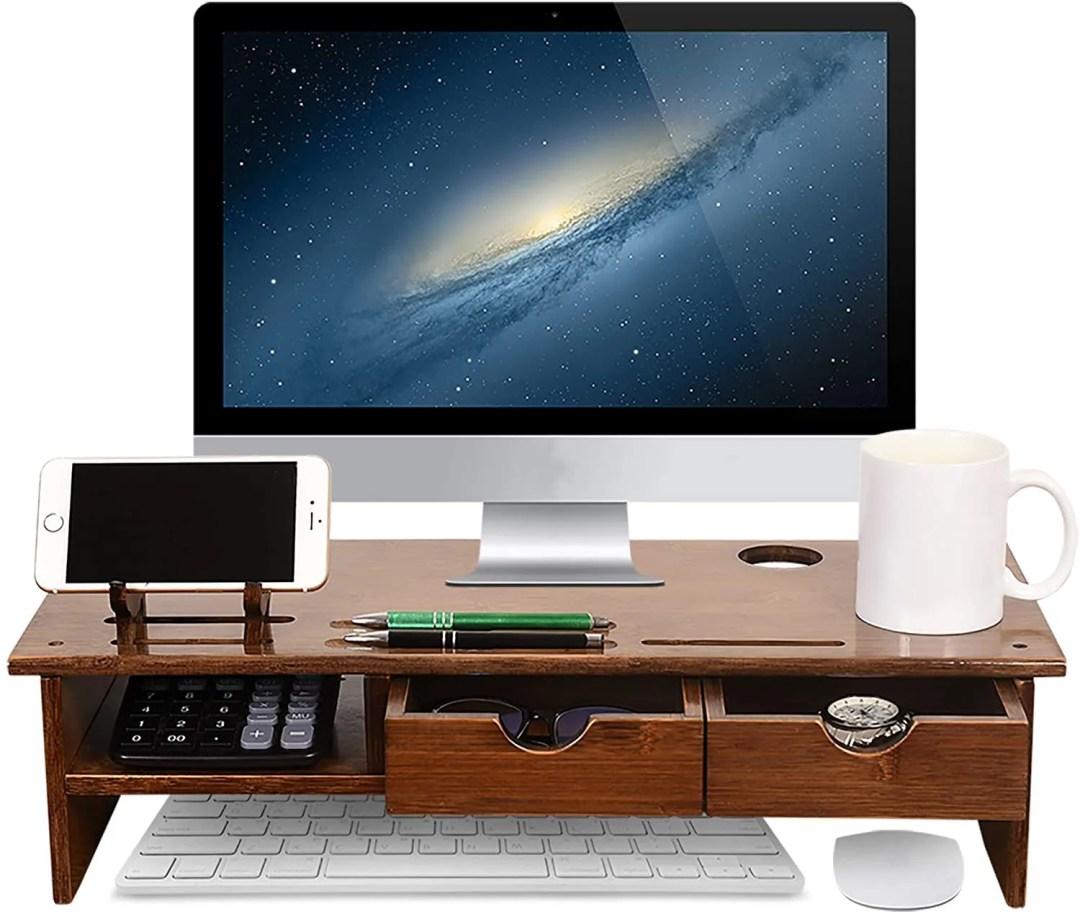Sundale Bamboo Wood Monitor Stand Ergonomic Computer Riser with Storage Organizer Drawers