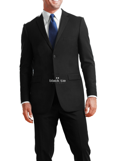 slim fit black suit- jims- black tie by lori