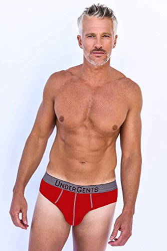 UnderGents Men's Brief Underwear with CloudSoft Cooling Air Modal Fabric (Comfort Underneath: Red Size Large)