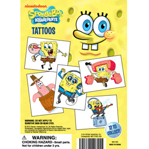 SpongeBob Square Pants Mini Tattoos-1.1 Inch Capsules