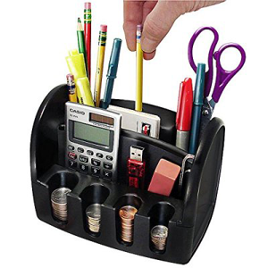 Desktop Organizer-Electric Pencil Sharpener-Coin Bank