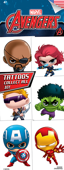 Marvel Avengers TeamUp Tattoos- Vending Refill