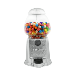 "9"" Silver Plated Metal-Glass Gumball-Candy Vending Machine"