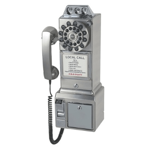 Crosley 1950's Classic Pay Phone-Model CR56-BC-Brushed Chrome
