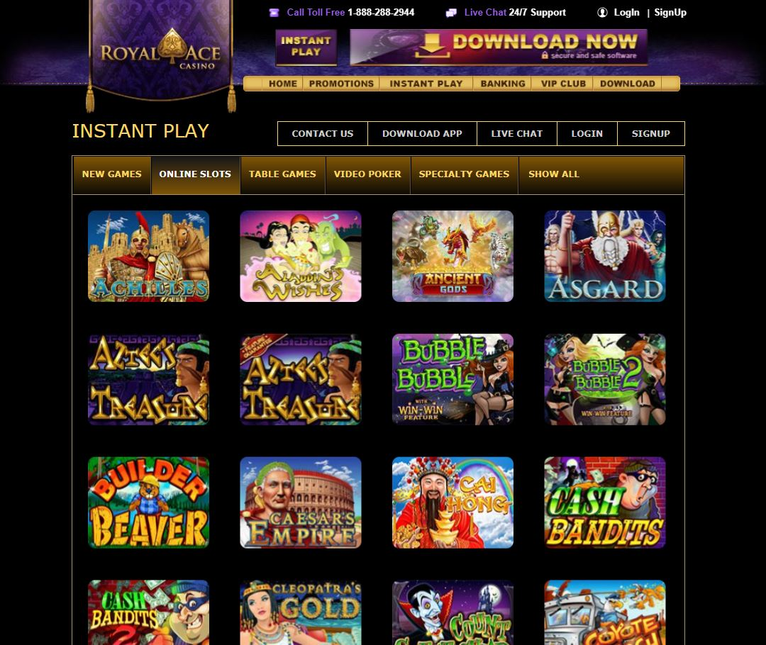 RoyalAce Casino Games Screenshot