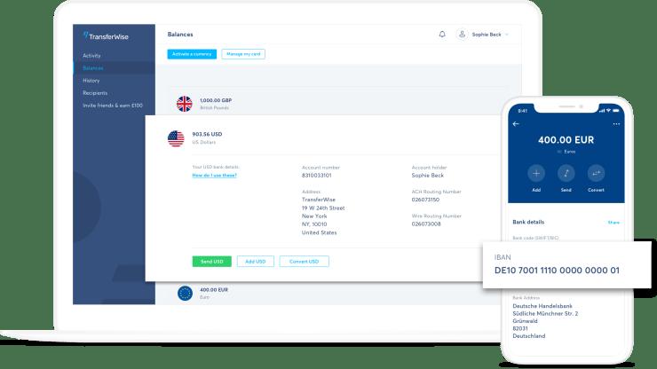 חשבון ללא גבולות של TransferWise-בסלולרי ובמחשב