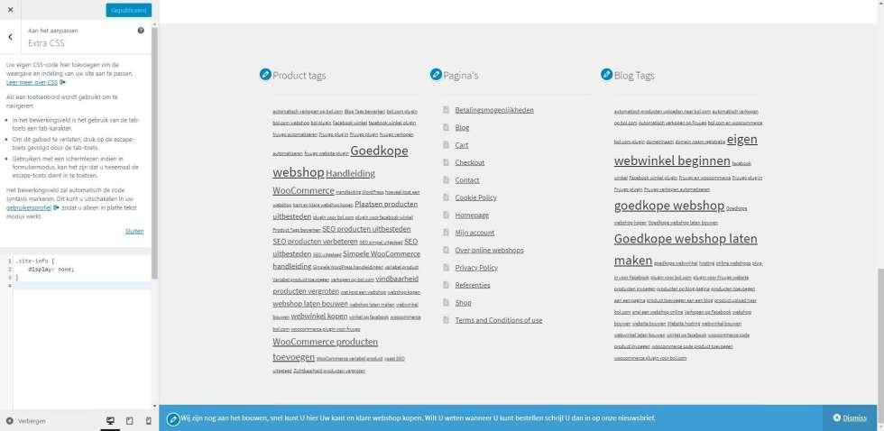 CSS code reclame uit footer verwijderen
