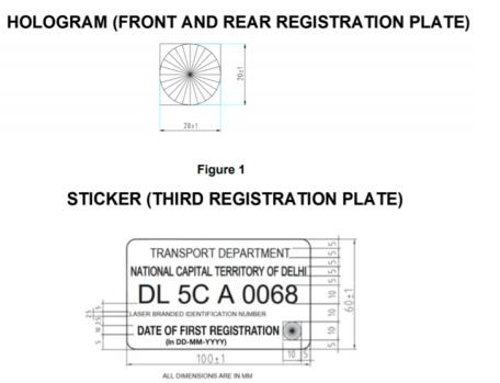Hologram and sticker format for HSRP