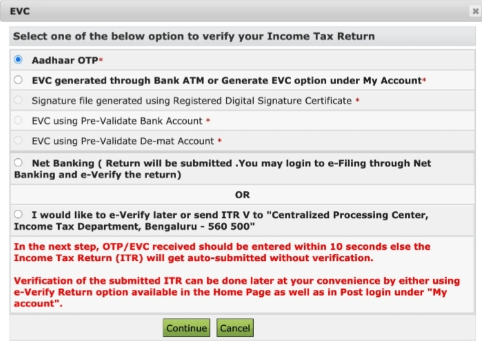 verify ITR by e-verify or by post in e-filing