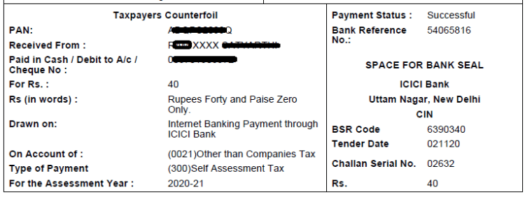 e-payment receipt of self assessment tax for filing ITR