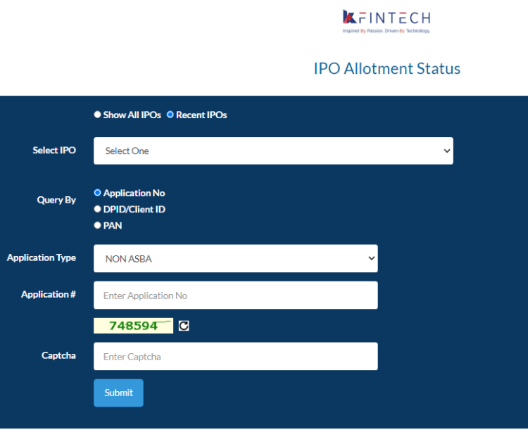 IRFC IPO allotment link on kfintech