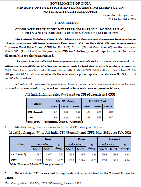 Inflation and CPI circular by NSO for March 2021