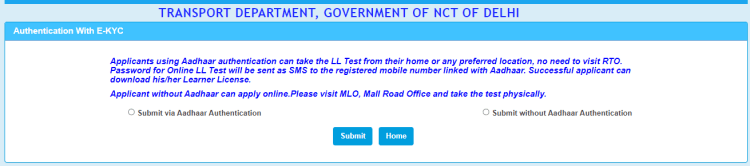 Driving license related services in Delhi RTO - Aadhar Authentication