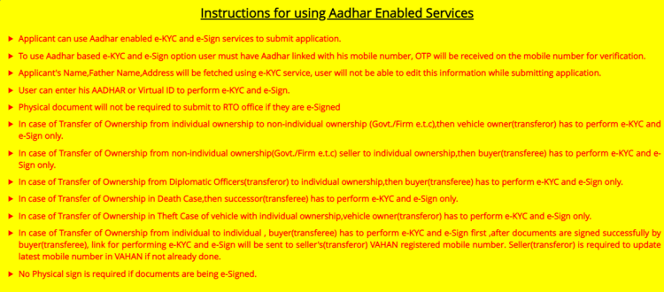 Instructions for using Aadhar based RTO services online in Delhi