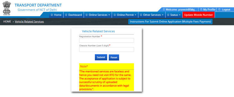 Online process for Vehicle related services - DL and chasis no. required