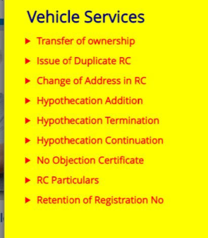 Vehicle services online from Delhi RTO