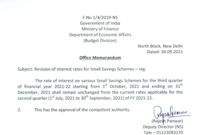 Rate of Interest on Small Saving Schemes like Sukanya Samriddhi Yojana for Oct to Dec 2021