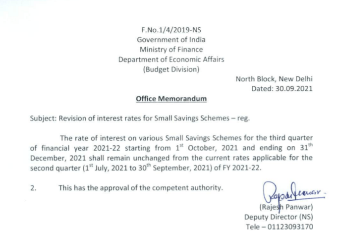 Govt. order of interest rates of small savings from 1st Oct to 31st Dec 2021