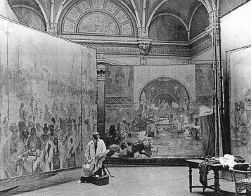 615px-Alfons_Mucha_at_work_on_Slav_Epic 1920
