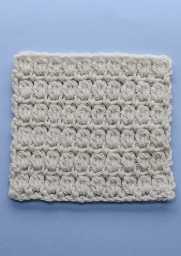 Sampler square for the soft cluster crochet stitch pattern