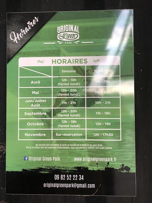 horaires originalgreenpark