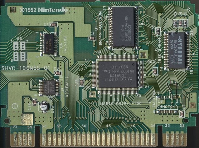 El PCB de Star Fox, con el Chip FX