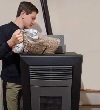 filling pellet stove