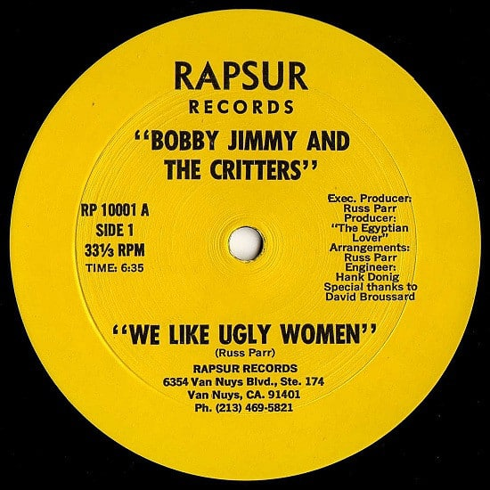 Bobby Jimmy And The Critters ‎- We Like Ugly Women