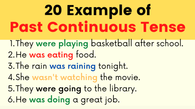 20 Examples of Past Continuous Tense