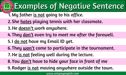 examples of negative sentences
