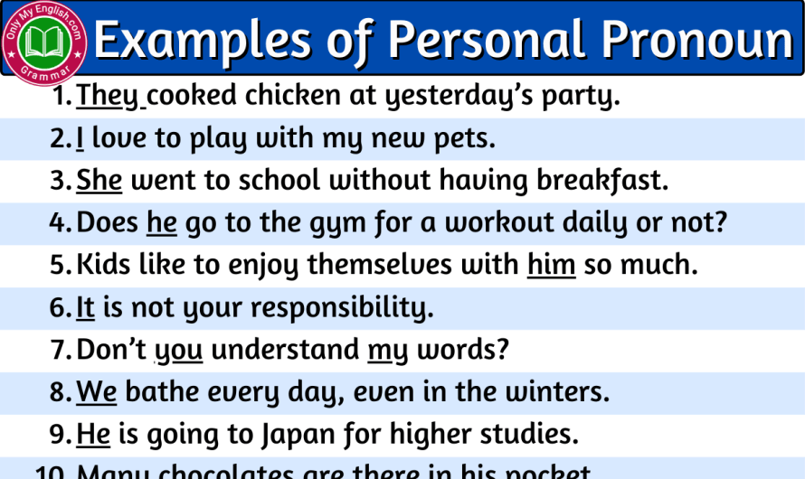 Examples of Personal Pronouns are in sentences