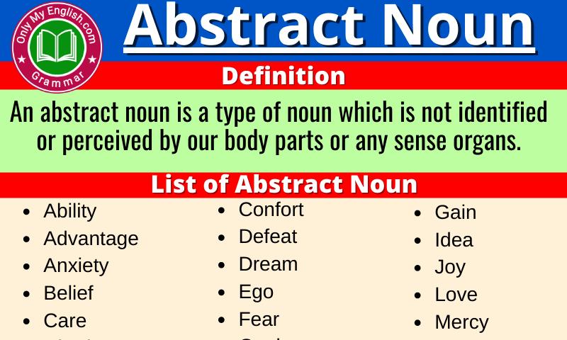 Abstract Noun: Definition, Examples, Sentences & List a-z