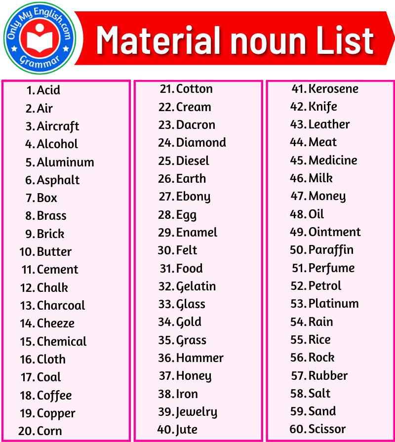 material noun list