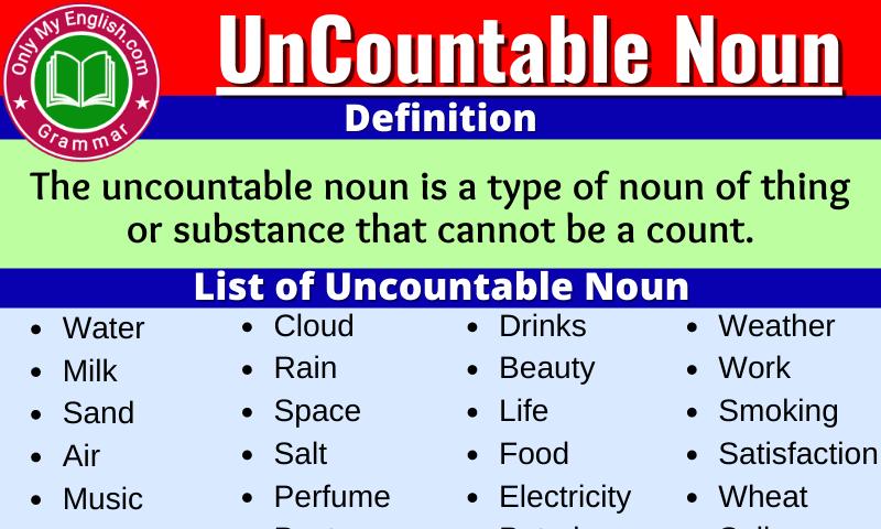 Uncountable Noun: Definition, Examples, Sentences & list