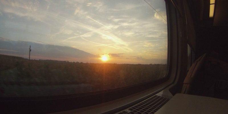 Sunset Train Europe