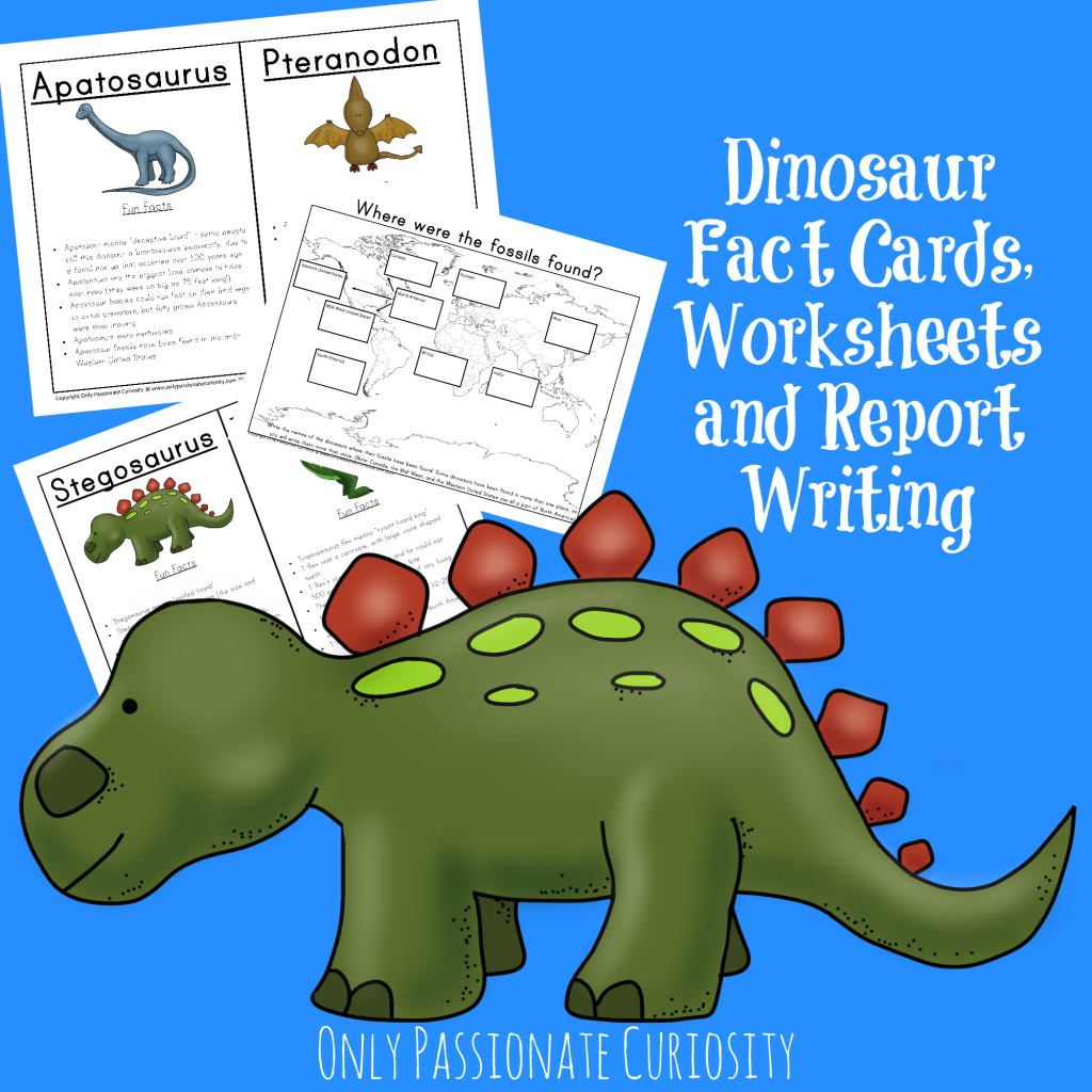 Dinosaur Unit Study Fact Cards And Dino Reports