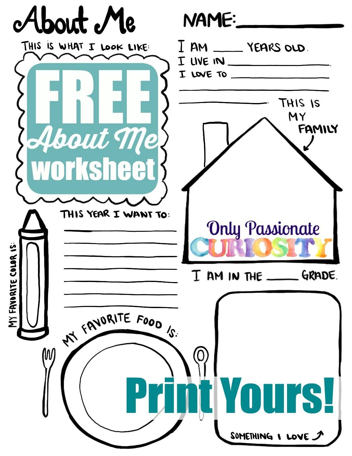 All About Me Back To School Printable Only Passionate
